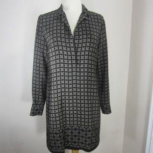 Vince 100% Silk Tunic Dress Mix Print Women's 2